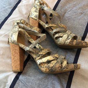 Snakeskin Sandal Heels